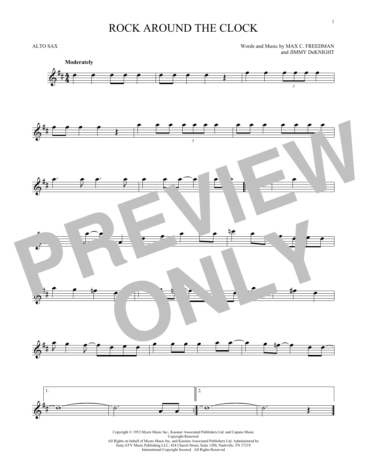 Bill Haley & His Comets Rock Around The Clock sheet music preview music notes and score for Guitar Tab including 5 page(s)