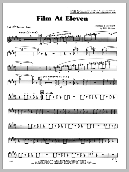 Bill Holman Film At Eleven - 1st Bb Tenor Saxophone sheet music preview music notes and score for Jazz Ensemble including 4 page(s)
