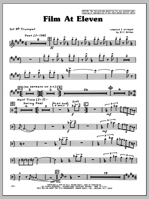 Bill Holman Film At Eleven - 1st Bb Trumpet sheet music preview music notes and score for Jazz Ensemble including 4 page(s)