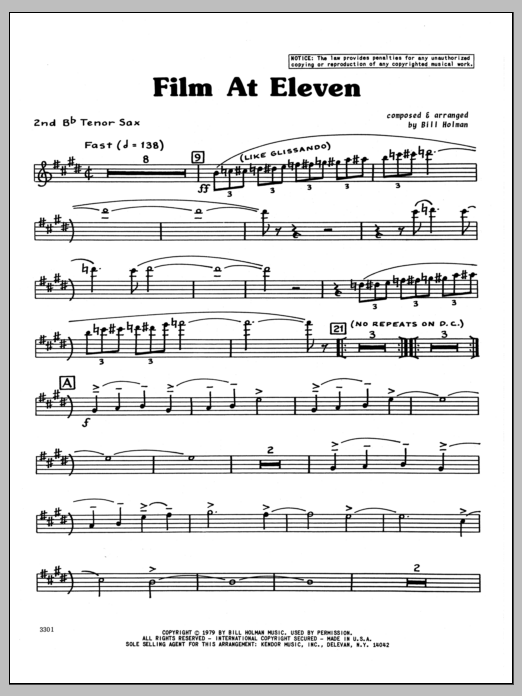 Bill Holman Film At Eleven - 2nd Bb Tenor Saxophone sheet music preview music notes and score for Jazz Ensemble including 4 page(s)