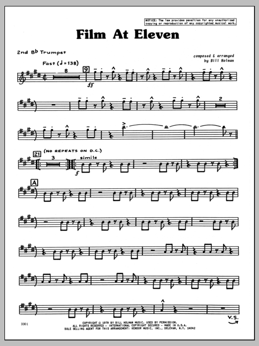 Bill Holman Film At Eleven - 2nd Bb Trumpet sheet music preview music notes and score for Jazz Ensemble including 4 page(s)