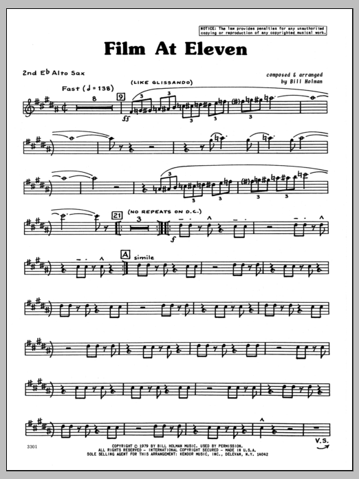 Bill Holman Film At Eleven - 2nd Eb Alto Saxophone sheet music preview music notes and score for Jazz Ensemble including 4 page(s)