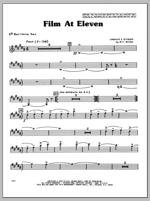 Bill Holman Film At Eleven - Baritone Sax sheet music preview music notes and score for Jazz Ensemble including 4 page(s)