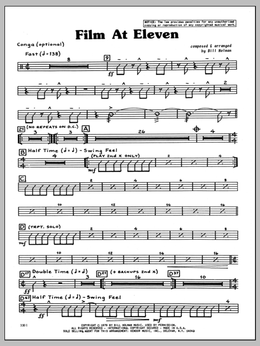 Bill Holman Film At Eleven - Congas sheet music preview music notes and score for Jazz Ensemble including 3 page(s)
