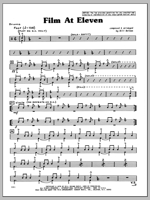 Bill Holman Film At Eleven - Drums sheet music preview music notes and score for Jazz Ensemble including 5 page(s)