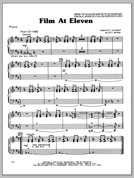 Bill Holman Film At Eleven - Piano sheet music preview music notes and score for Jazz Ensemble including 6 page(s)