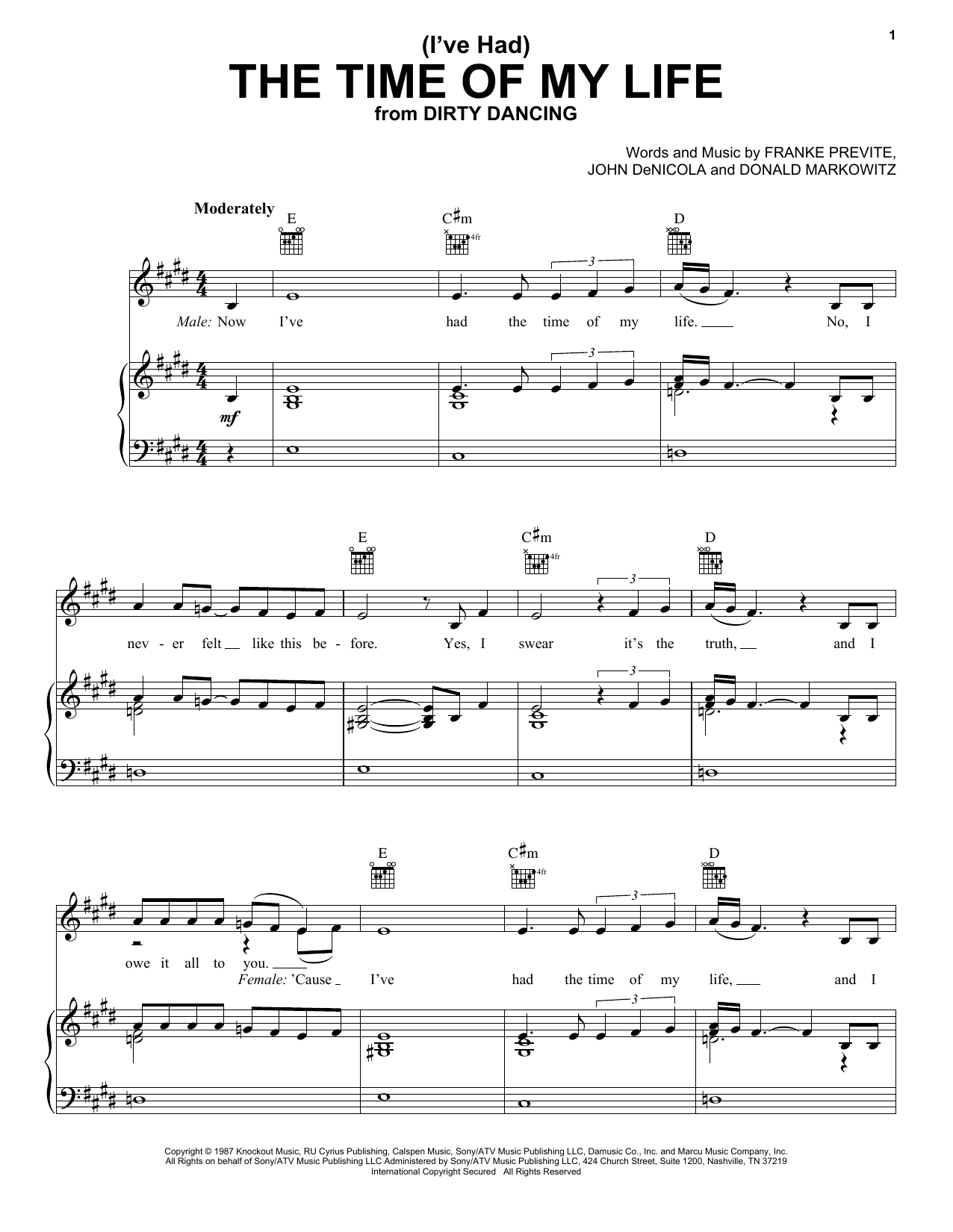 Bill Medley and Jennifer Warnes (I've Had) The Time Of My Life sheet music notes and chords