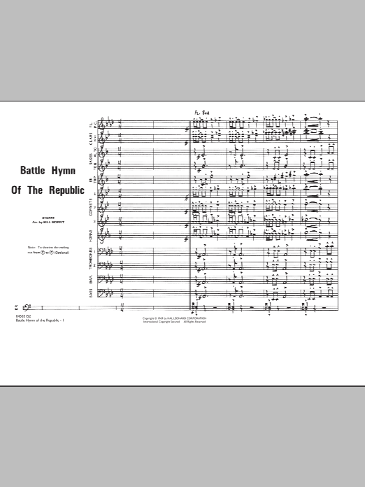 Download Bill Moffit 'Battle Hymn Of The Republic - Conductor Score (Full Score)' Digital Sheet Music Notes & Chords and start playing in minutes