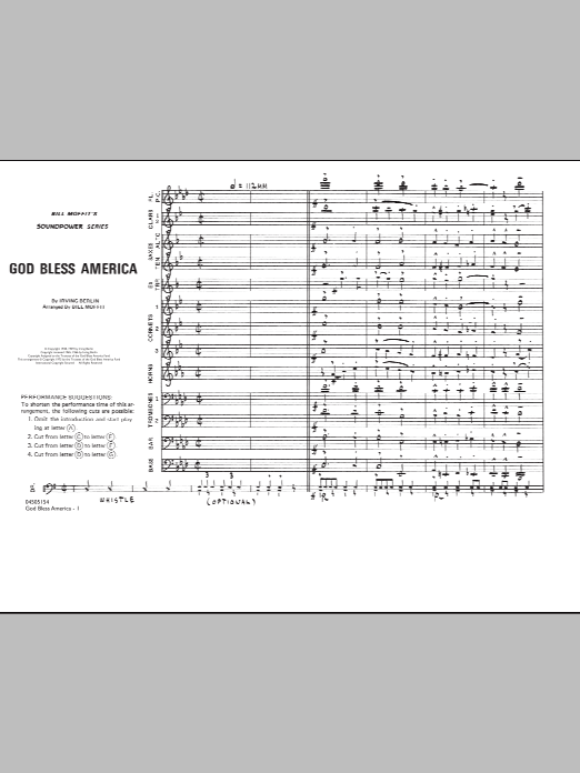Download Bill Moffit 'God Bless America - Conductor Score (Full Score)' Digital Sheet Music Notes & Chords and start playing in minutes