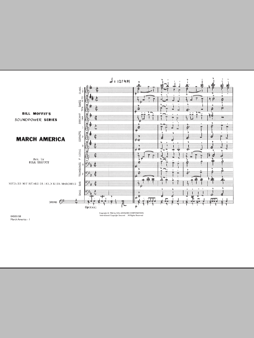 Download Bill Moffit 'March America - Conductor Score (Full Score)' Digital Sheet Music Notes & Chords and start playing in minutes