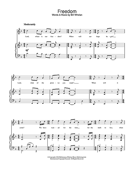 Bill Whelan Freedom (from Riverdance) sheet music notes and chords