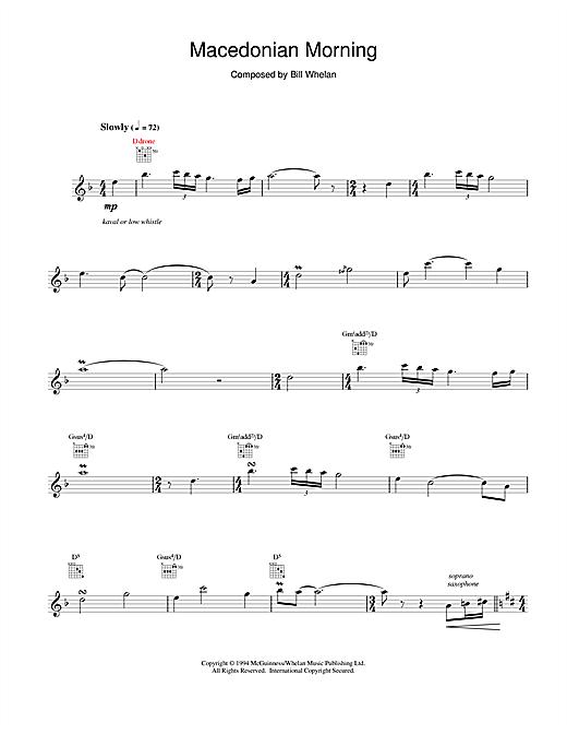 Bill Whelan Macedonian Morning (from Riverdance) sheet music notes and chords