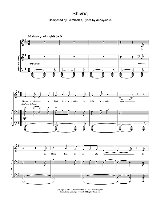 Download Bill Whelan 'Shivna (from Riverdance)' Digital Sheet Music Notes & Chords and start playing in minutes