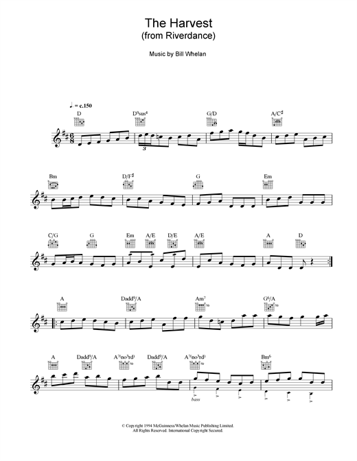 Bill Whelan The Harvest (from Riverdance) sheet music notes and chords