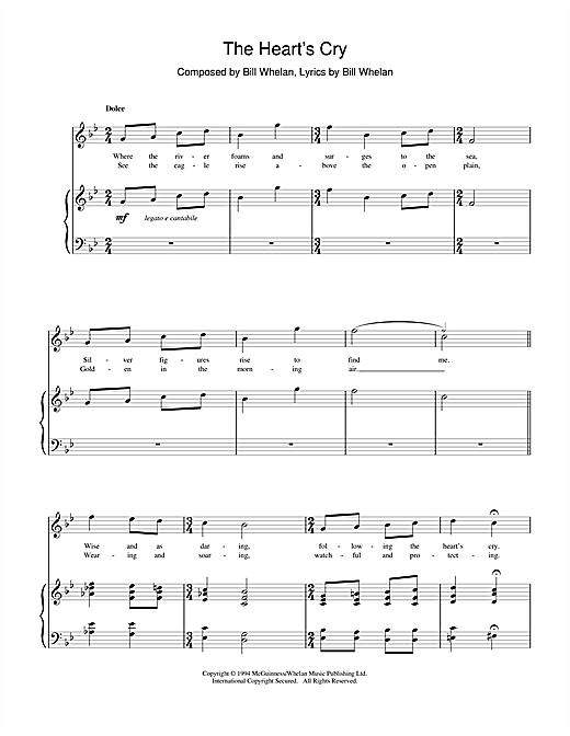 Bill Whelan The Heart's Cry (from Riverdance) sheet music notes and chords