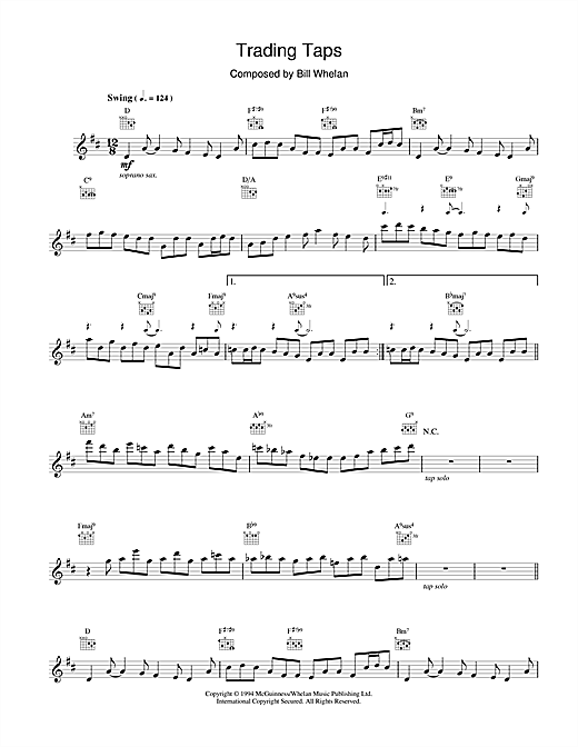 Bill Whelan Trading Taps (from Riverdance) sheet music notes and chords