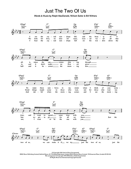 Download Bill Withers 'Just The Two Of Us' Digital Sheet Music Notes & Chords and start playing in minutes