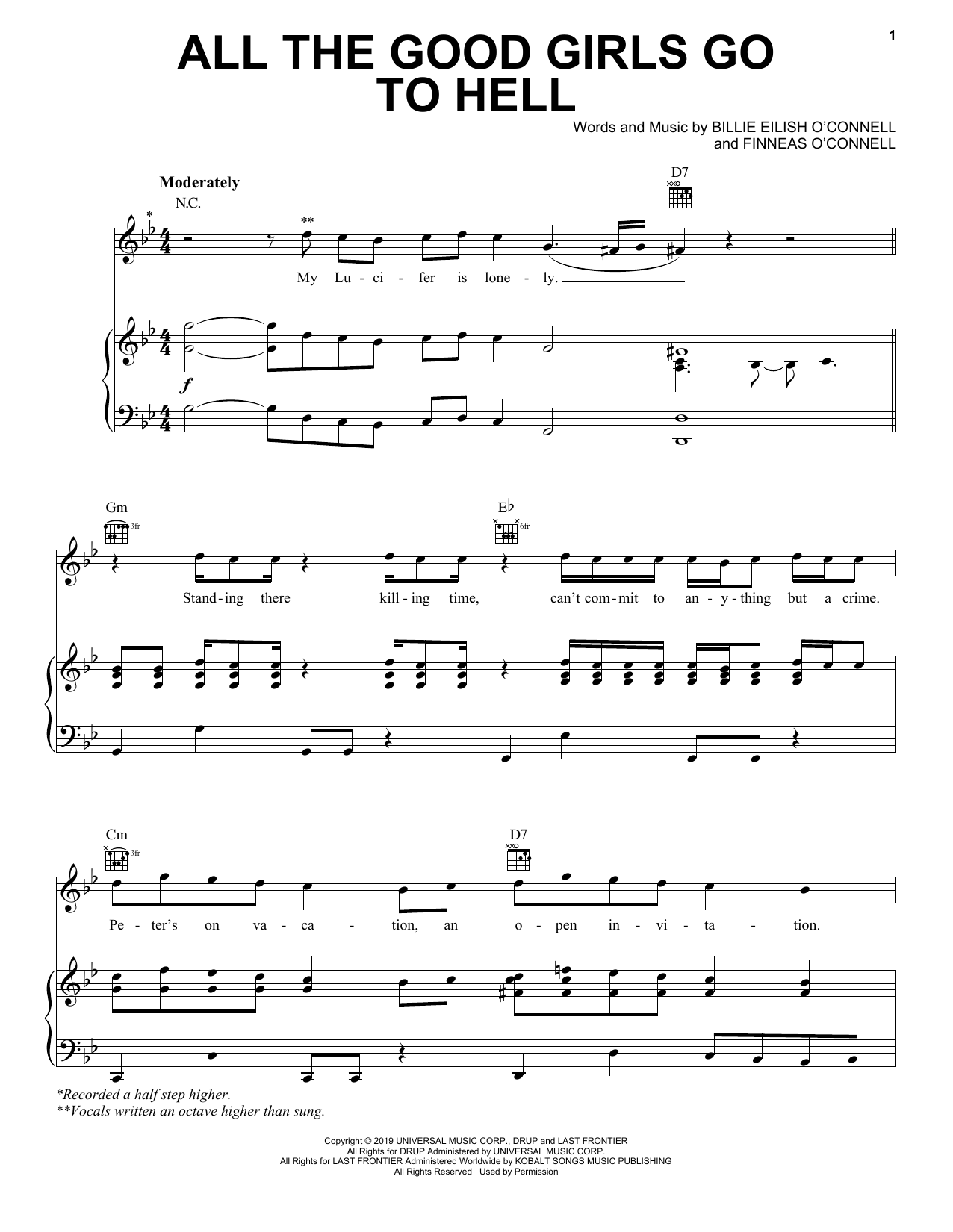 Download Billie Eilish 'all the good girls go to hell' Digital Sheet Music Notes & Chords and start playing in minutes