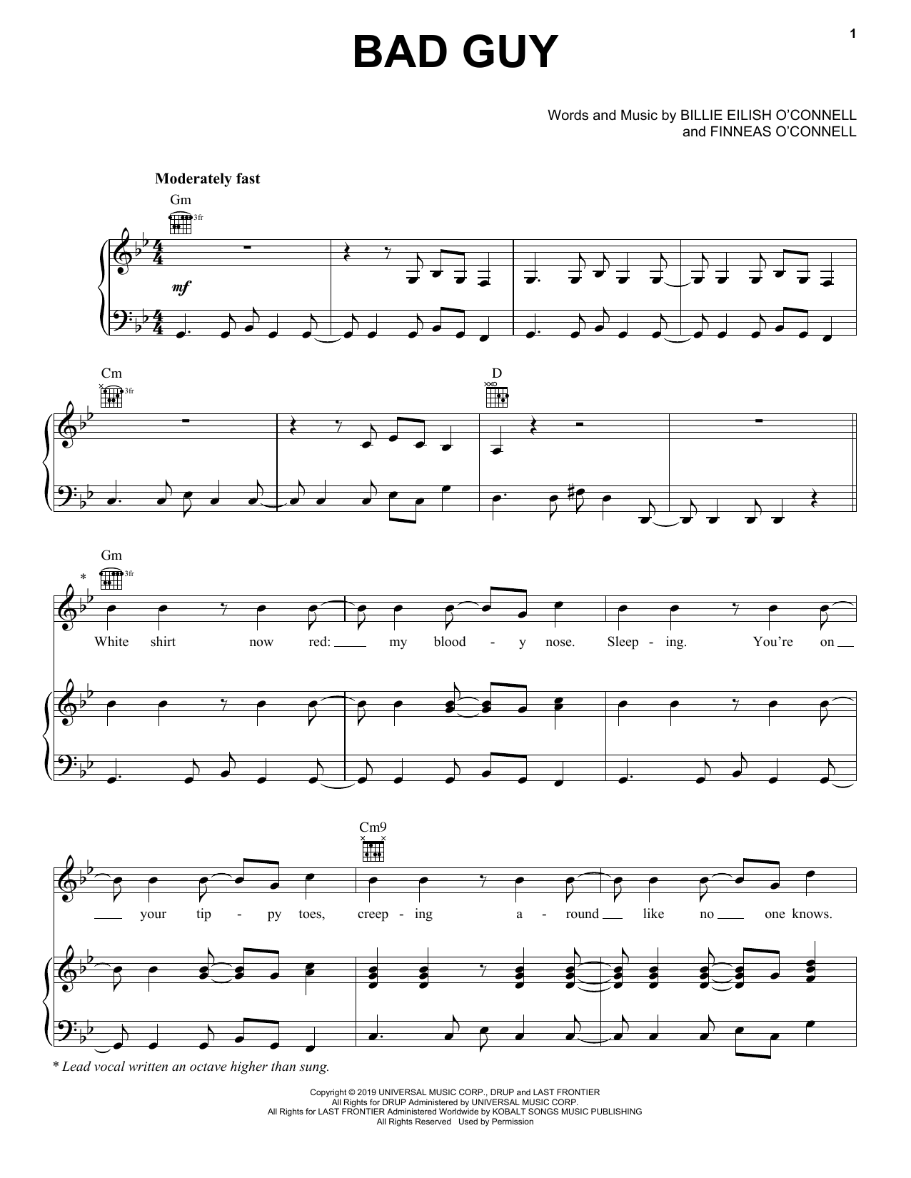 Download Billie Eilish 'bad guy' Digital Sheet Music Notes & Chords and start playing in minutes