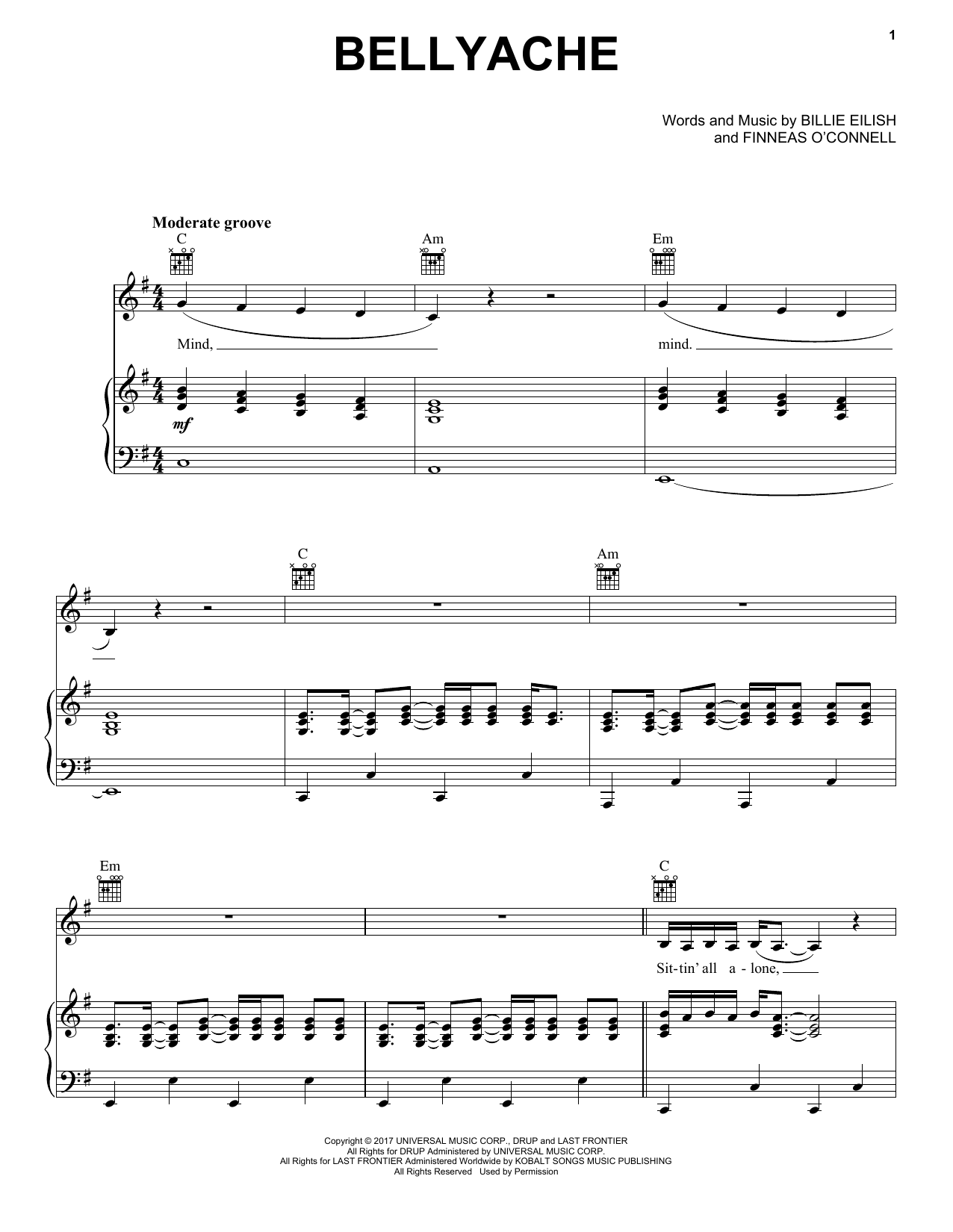 Download Billie Eilish 'bellyache' Digital Sheet Music Notes & Chords and start playing in minutes