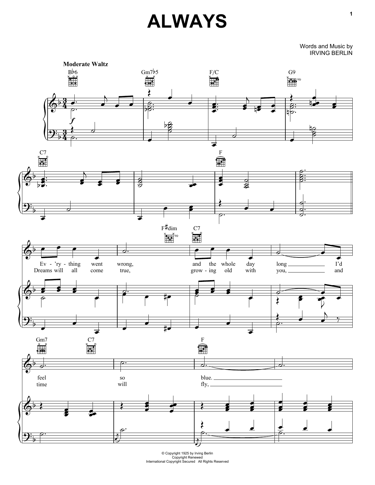 Billie Holiday Always sheet music preview music notes and score for Piano, Vocal & Guitar (Right-Hand Melody) including 4 page(s)