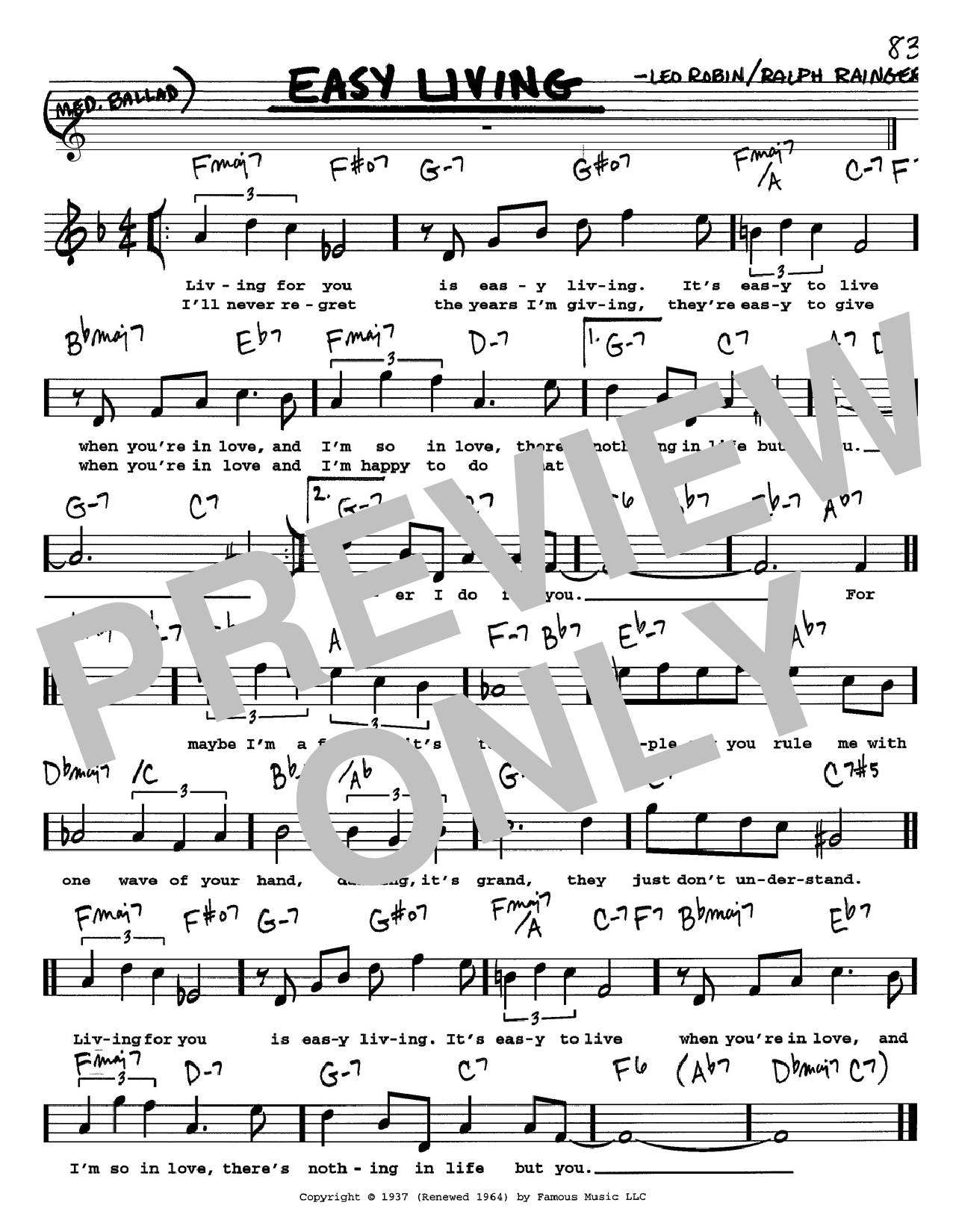 Billie Holiday Easy Living sheet music preview music notes and score for Piano, Vocal & Guitar (Right-Hand Melody) including 3 page(s)