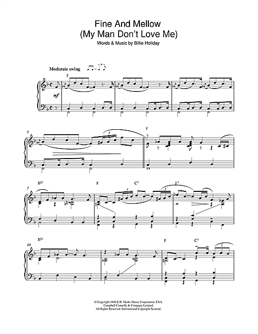 Download Billie Holiday 'Fine And Mellow (My Man Don't Love Me)' Digital Sheet Music Notes & Chords and start playing in minutes