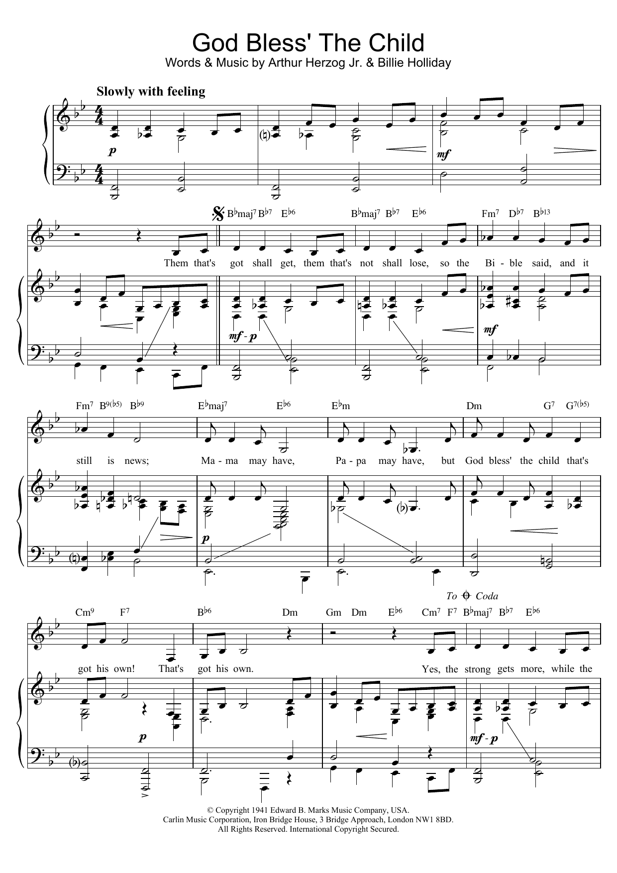 Billie Holiday God Bless' The Child sheet music preview music notes and score for Piano, Vocal & Guitar (Right-Hand Melody) including 3 page(s)