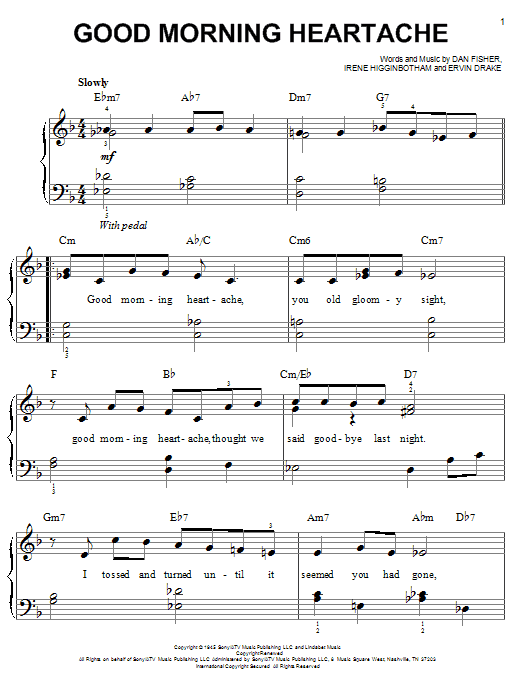 Billie Holiday Good Morning Heartache sheet music notes and chords