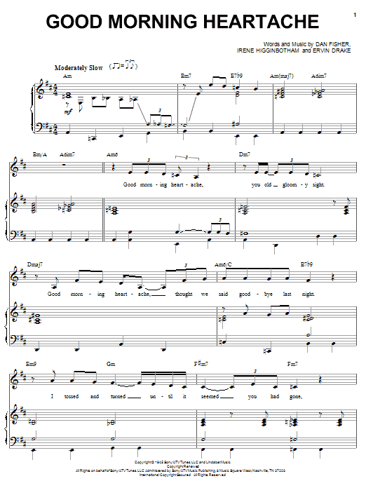 Billie Holiday Good Morning Heartache sheet music preview music notes and score for Piano, Vocal & Guitar (Right-Hand Melody) including 4 page(s)