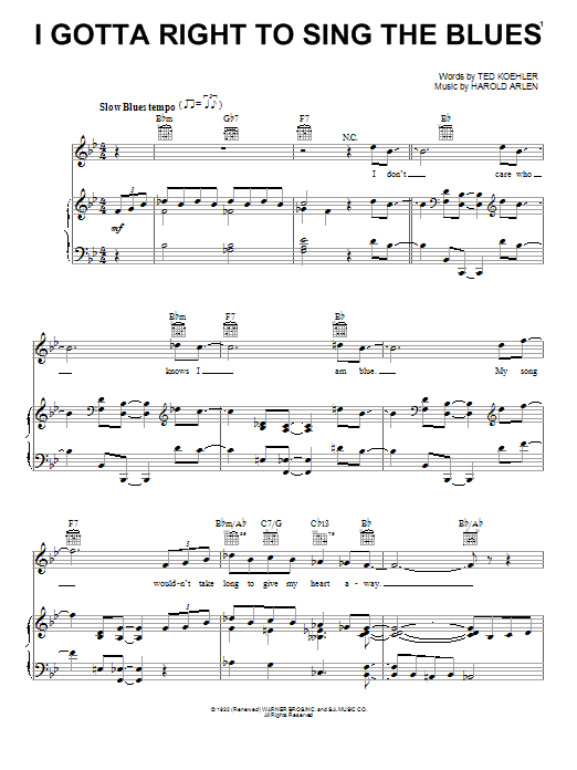 Billie Holiday I Gotta Right To Sing The Blues sheet music preview music notes and score for Piano, Vocal & Guitar (Right-Hand Melody) including 4 page(s)