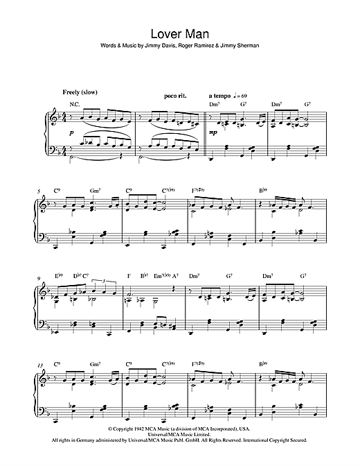 Download Billie Holiday 'Lover Man (Oh, Where Can You Be)' Digital Sheet Music Notes & Chords and start playing in minutes