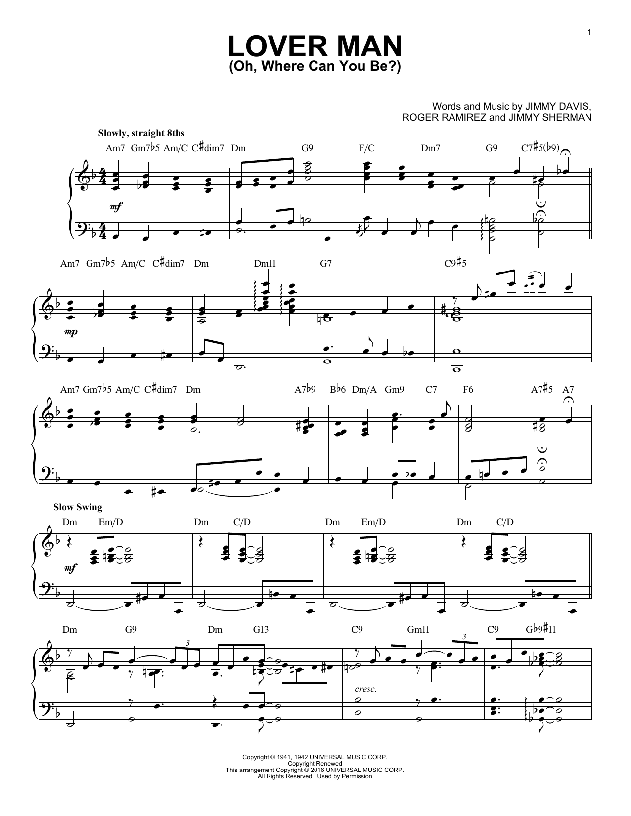 Download Billie Holiday 'Lover Man (Oh, Where Can You Be?)' Digital Sheet Music Notes & Chords and start playing in minutes