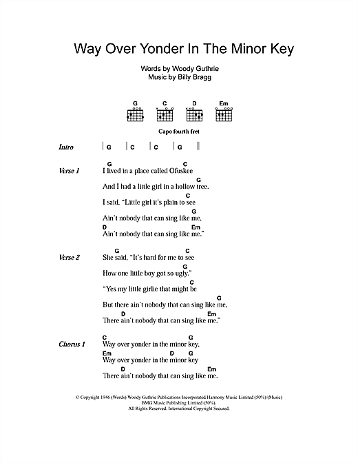 Billy Bragg Way Over Yonder In The Minor Key sheet music notes and chords