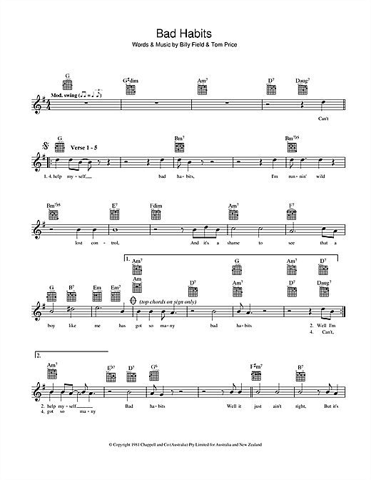 Billy Field Bad Habits sheet music preview music notes and score for Melody Line, Lyrics & Chords including 2 page(s)