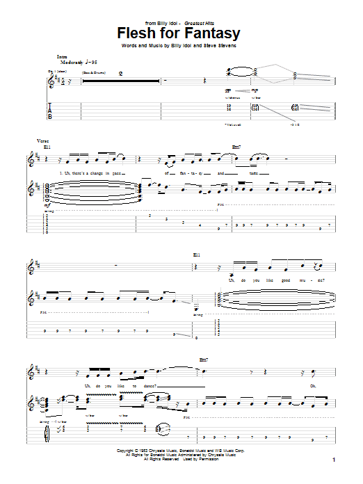 Billy Idol Flesh For Fantasy sheet music preview music notes and score for Piano, Vocal & Guitar (Right-Hand Melody) including 11 page(s)
