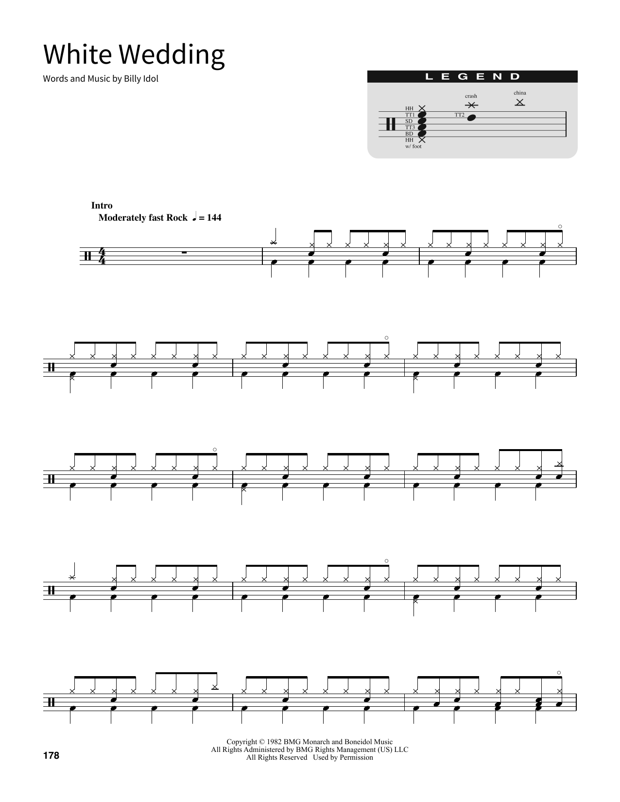 Download Billy Idol 'White Wedding' Digital Sheet Music Notes & Chords and start playing in minutes