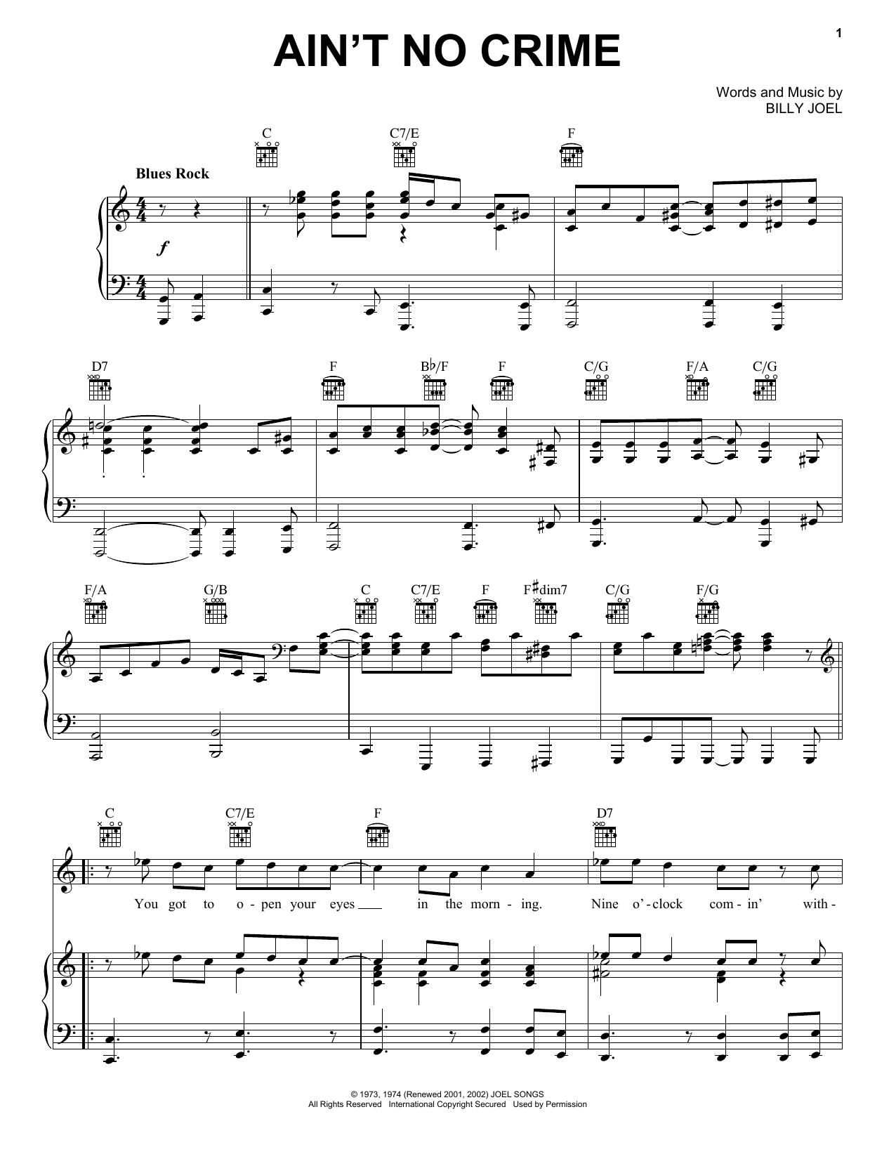 Billy Joel Ain't No Crime sheet music preview music notes and score for Piano, Vocal & Guitar (Right-Hand Melody) including 6 page(s)