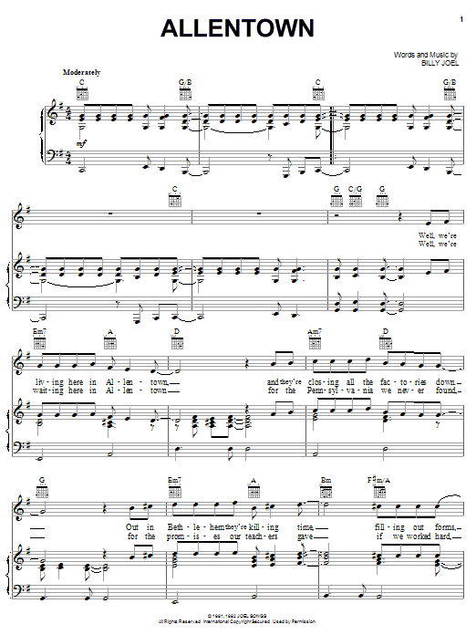 Billy Joel Allentown sheet music notes and chords