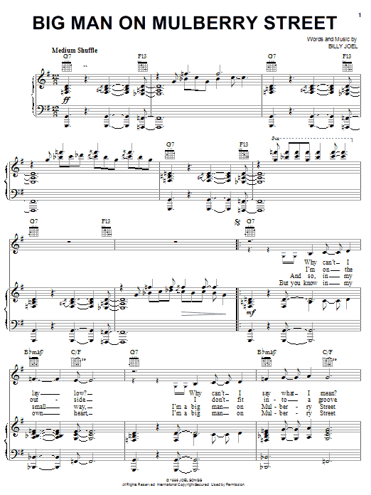Billy Joel Big Man On Mulberry Street sheet music notes and chords