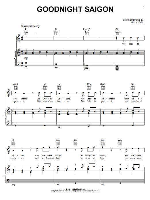 Billy Joel Goodnight Saigon sheet music notes and chords