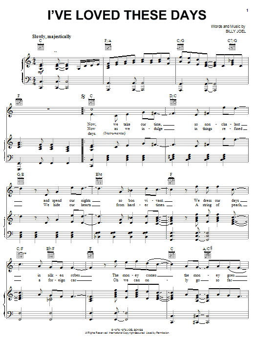 Billy Joel I've Loved These Days sheet music notes and chords