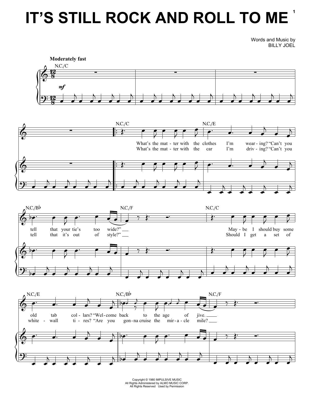Billy Joel It's Still Rock And Roll To Me sheet music notes and chords