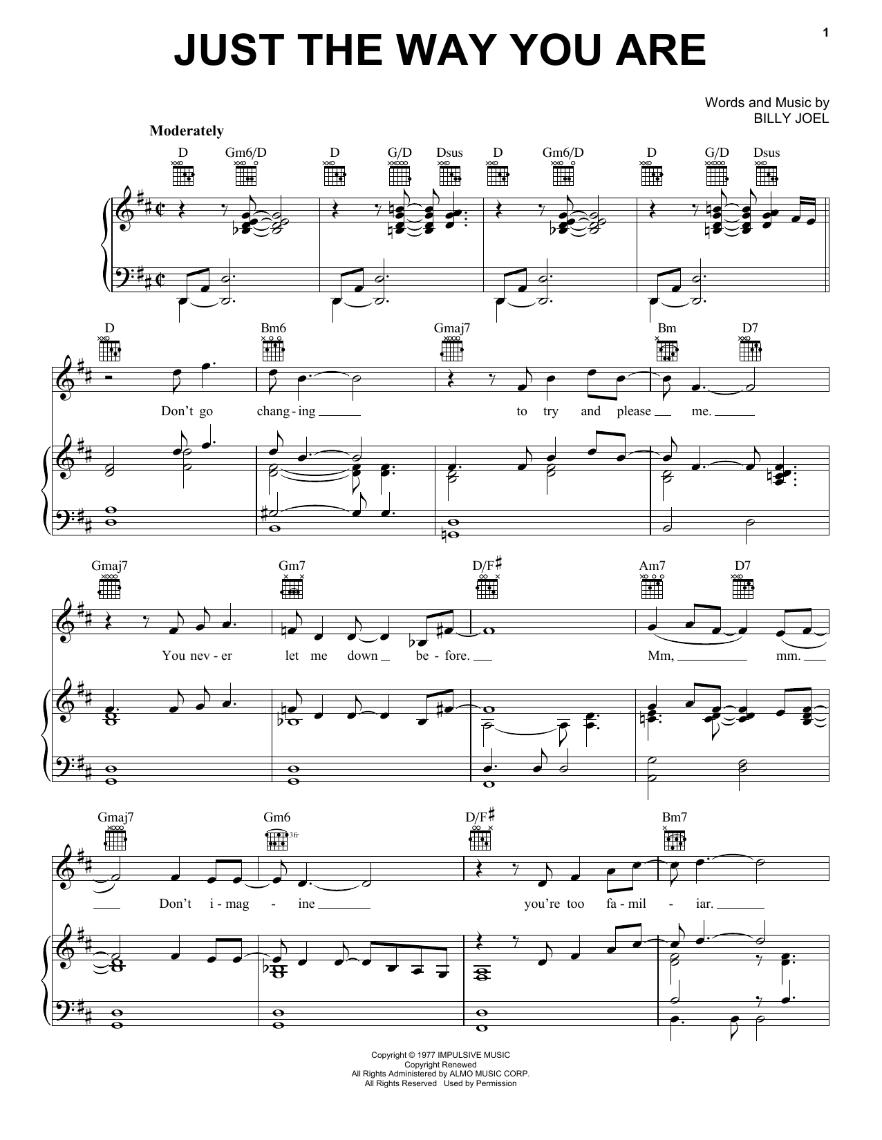 Billy Joel Just The Way You Are sheet music notes and chords