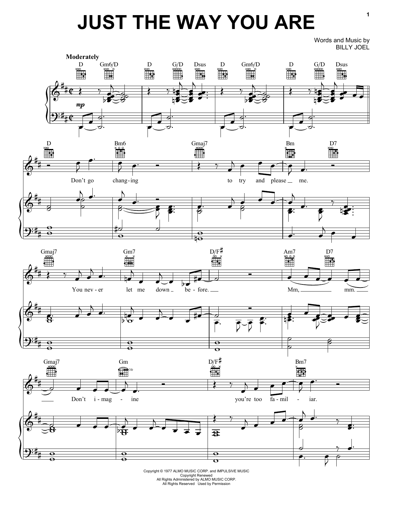 Billy Joel Just The Way You Are sheet music preview music notes and score for Piano (Big Notes) including 5 page(s)