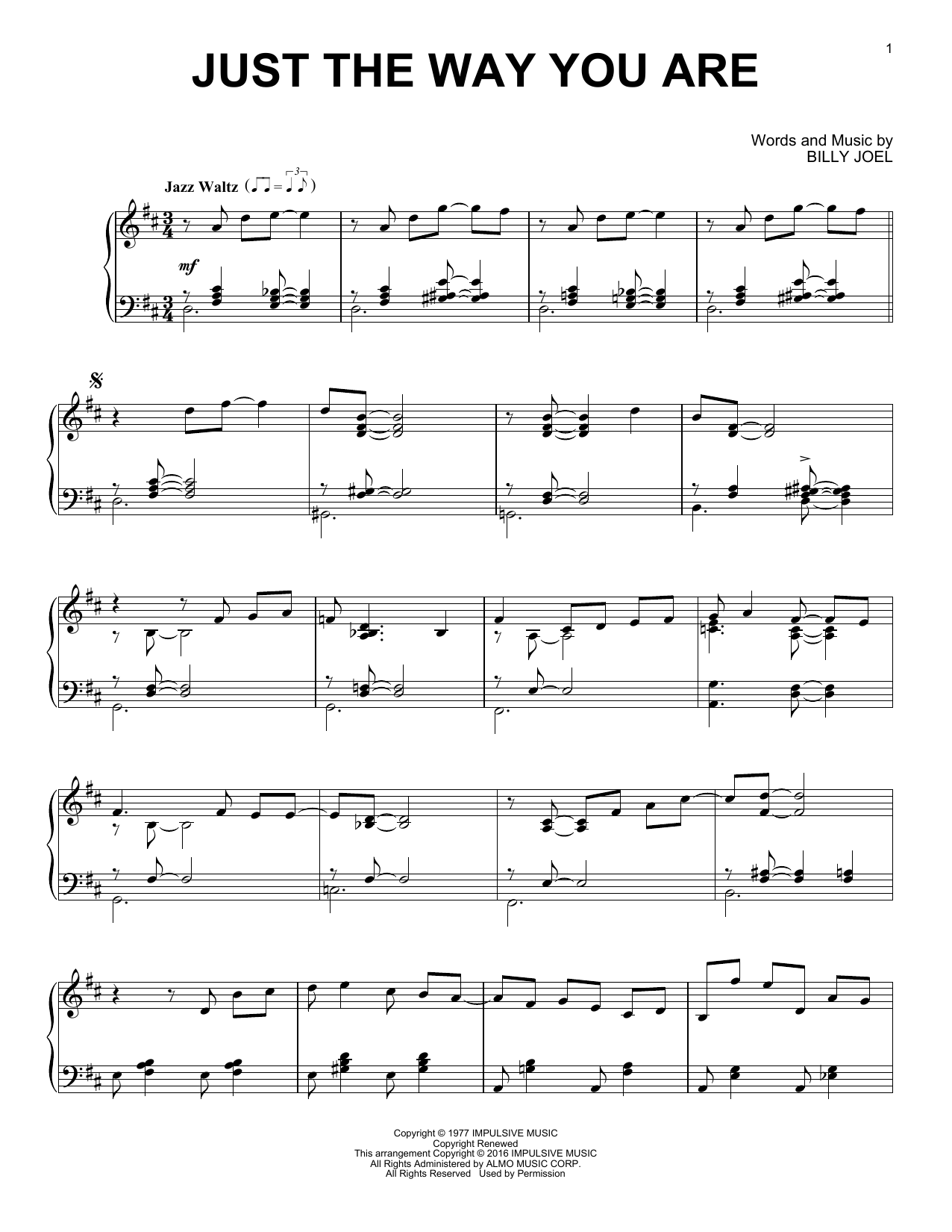 Download Billy Joel 'Just The Way You Are' Digital Sheet Music Notes & Chords and start playing in minutes