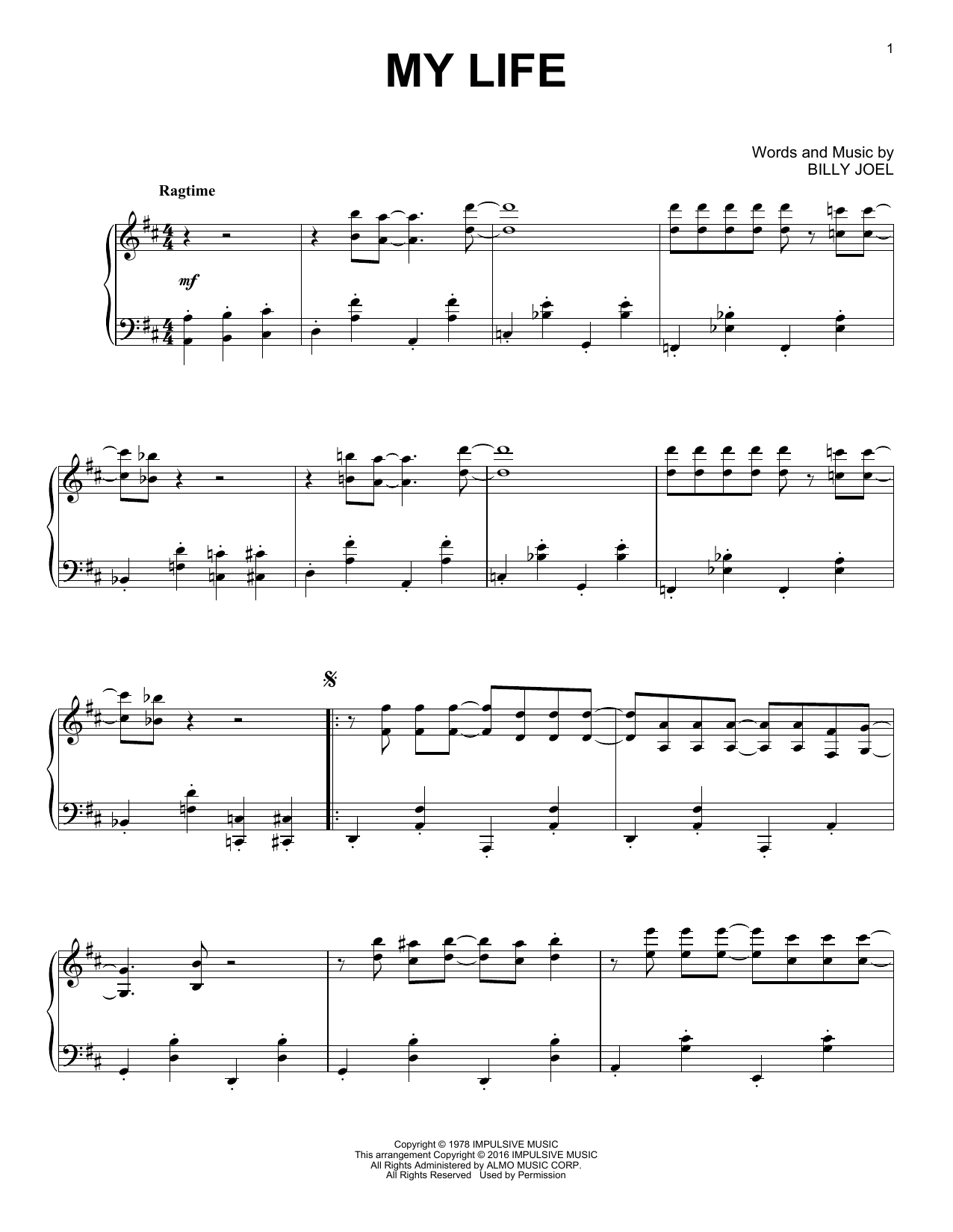 Download Billy Joel 'My Life' Digital Sheet Music Notes & Chords and start playing in minutes