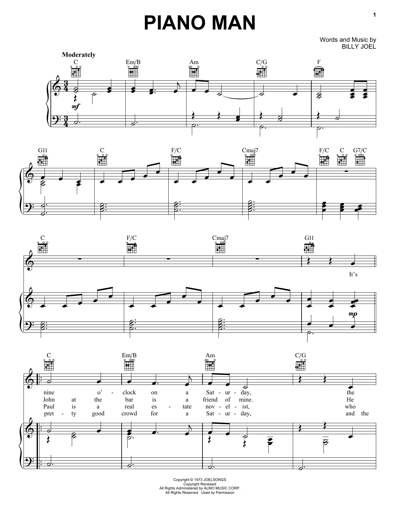 Billy Joel Piano Man sheet music preview music notes and score for Guitar Tab including 4 page(s)