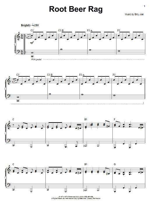 Download Billy Joel 'Root Beer Rag' Digital Sheet Music Notes & Chords and start playing in minutes