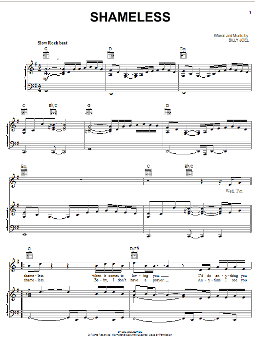 Download Billy Joel 'Shameless' Digital Sheet Music Notes & Chords and start playing in minutes